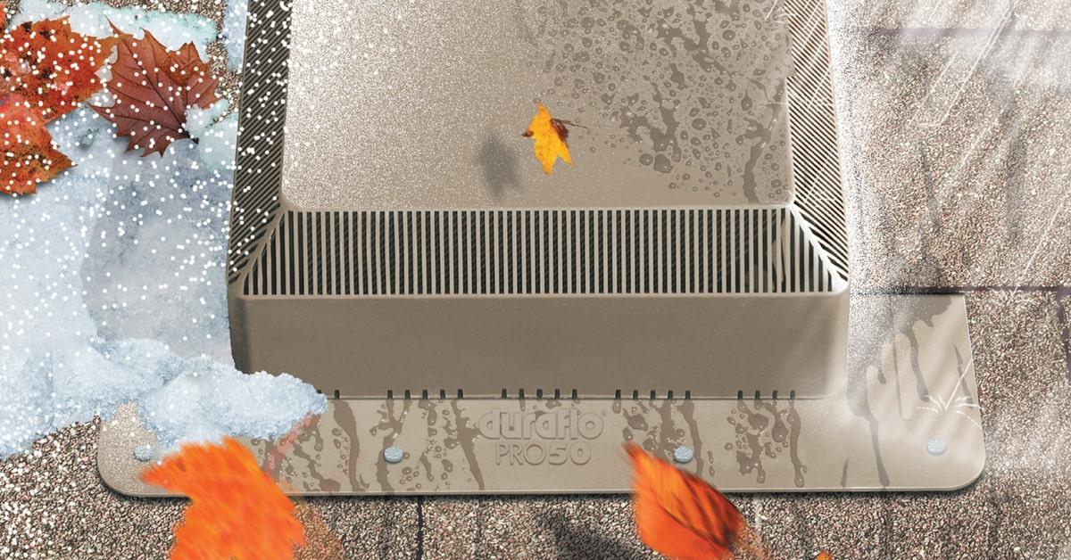 Duraflo WeatherPRO PRO50 roof vent holding up in extreme weathers - weatherwood