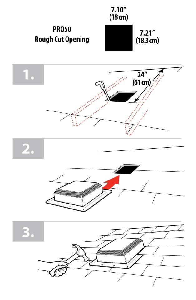 3 steps to install Duraflo WeatherPRO PRO50 Roof Vent
