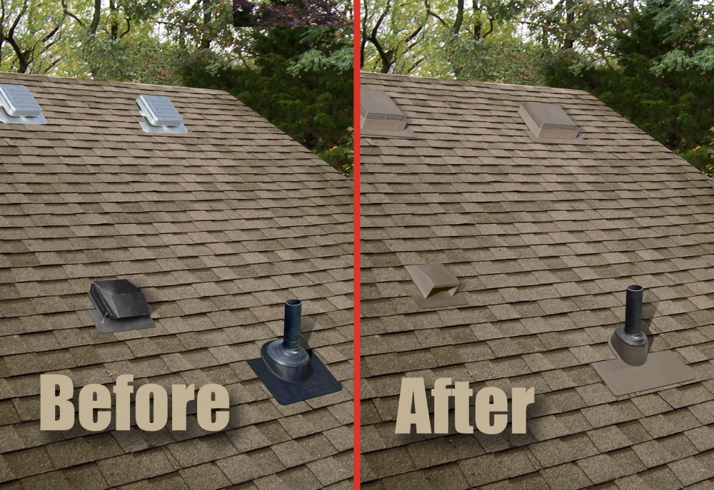 before picture of roof vents in various colours on a rooftop and after picture of colour matching vents on rooftop